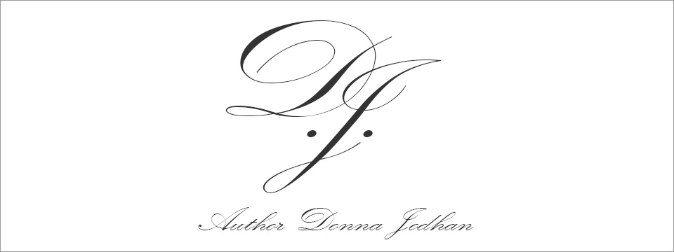 Author Donna Jodhan scripted initials, which serve as her logo, centered above the words, 'Author Donna Jodhan'
