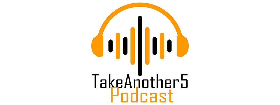 TakeAnother5 Podcast Logo: The bright yellow-orange silhouette of a pair of headphones appears to be transmitting sound back and forth via alternating bright yellow-orange and black bars of differing lengths which are passing between the two headphone speakers. Underneath this icon are the words 'TakeAnother5' in black. Underneath the text 'TakeAnother5' is the text 'Podcast' in the same bright yellow-orange as the above headphone silhouette.