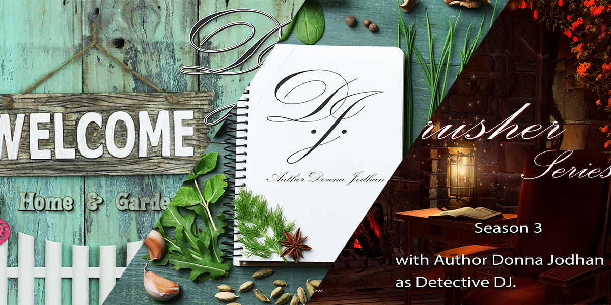 A triple diagonal panel showcases the ADJ Home and Garden Library on the left, the ADJ Recipe Library in the center and the ADJ Crime Crusher Season 3 cover on the right.