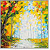 Photo of a beautiful acrylic oil painting depicting a Fall scene with vivid colors along a rainy path.