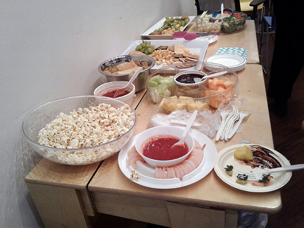 The food spread.