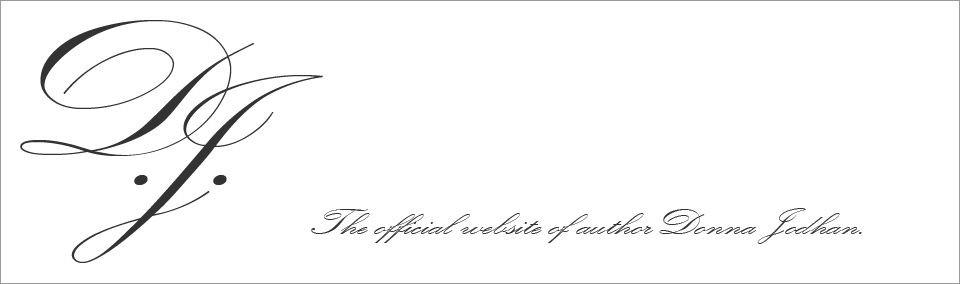 Website header. This image shows the Author Donna Jodhan Logo in a large scripted font next to the words, The official website of Author Donna Jodhan.